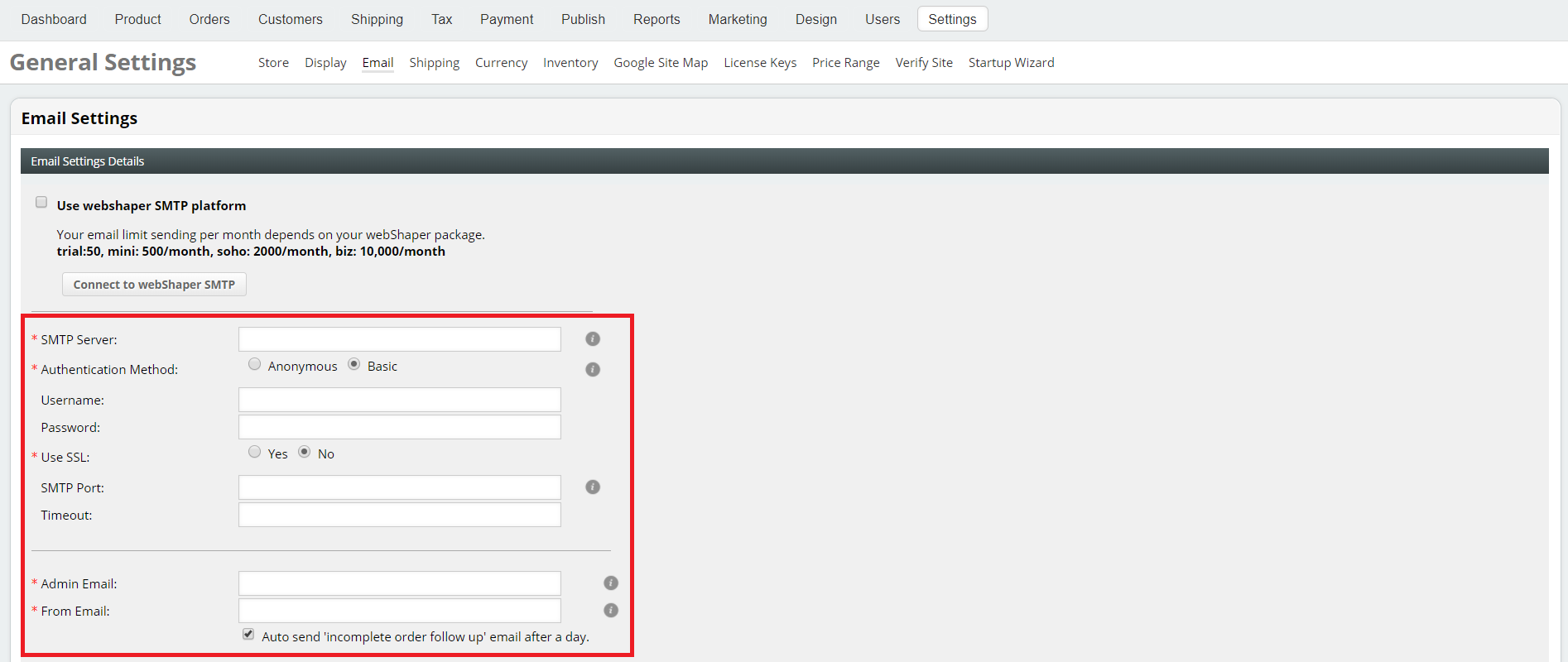 How to Setup Emails? « eCommerce store & multichannel marketplace
