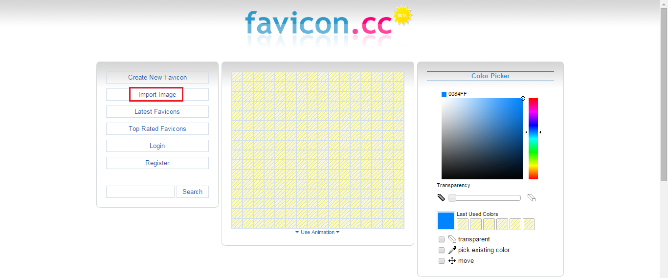 import into favicon cc